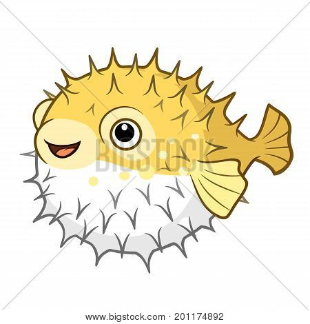 Vector cartoon illustration of a cute happy smiling yellow spiky puffer fish character isolated on white