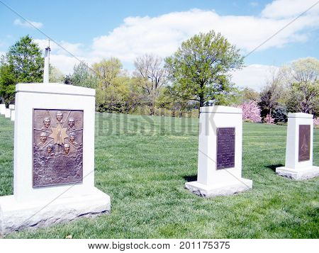 Arlington, USA - April 9, 2010: Challenger and Columbia Memorial in Arlington National Cemetery.