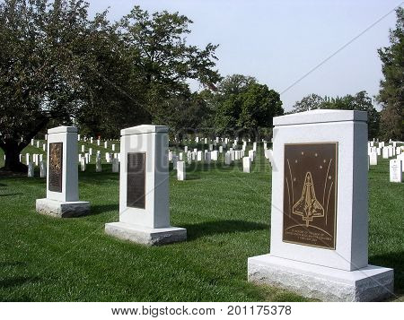 Arlington, USA - October 18, 2004: Columbia and Challenger Memorial in Arlington National Cemetery.