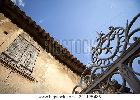 Old Mansion And Gate In South Of France