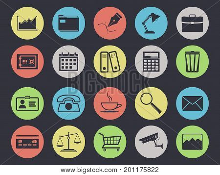 Office icons set isolated on black background. Business and finance