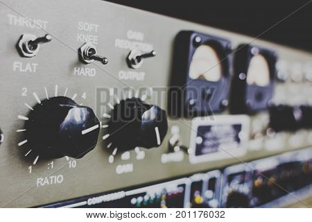 Recording studio equipment. Selective focus. Recording and mixing concept.