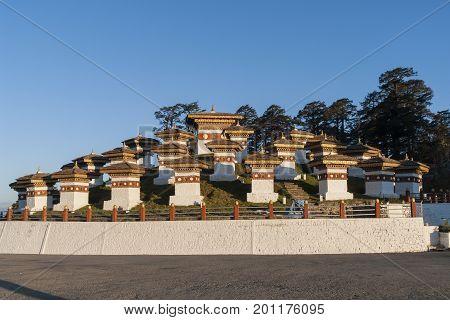 In this pass, 108 memorial chortens or stupas known as Druk Wangyal Chortens have been built by Ashi Dorji Wangmo Wangchuk, the eldest Queen Mother