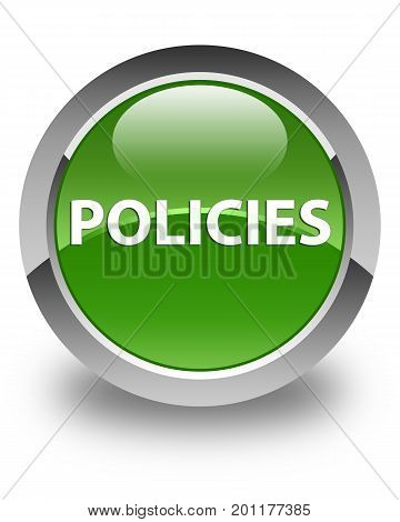 Policies Glossy Soft Green Round Button
