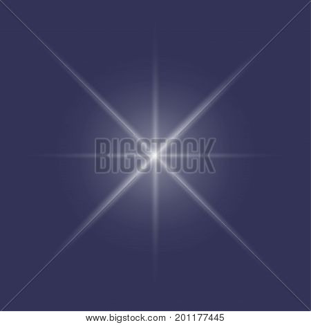 Vector illustration of a bright star shining or flashing in the night sky isolated. Starshine could be used as Pole star or polar, known as Polaris or Christmas Star, known as Star of Bethlehem.