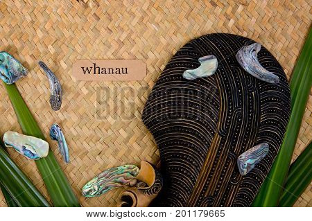 New Zealand - Maori Themed Objects - Mere And Abalone Shells With Whanua Label (maori For Family)