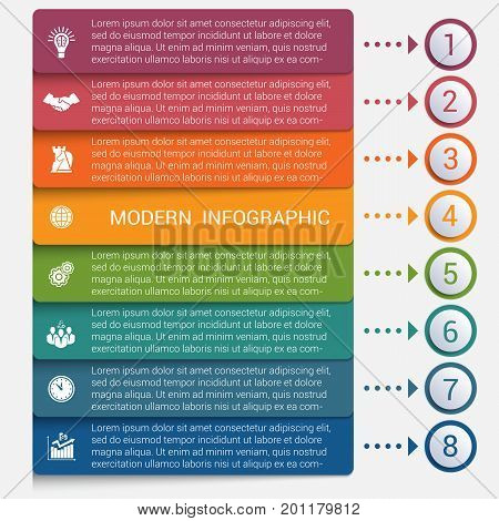 Modern strips infographics 8 options banner for business processes workflow diagram flowcharts