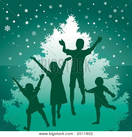 Christmas Kids Jump Green