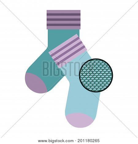 colorful silhouette of pair of socks and circle of macro textile pattern vector illustration