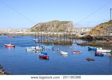 Boats In A Port In Summer In Cudillero, Spain