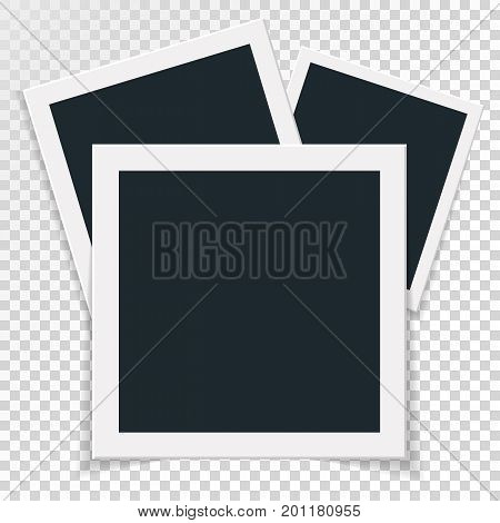 Rotational concept of retro photo frame, three in one, triple isolated object on transparent background with shadow. Flat design. Vector illustration of an image edge for images and images.