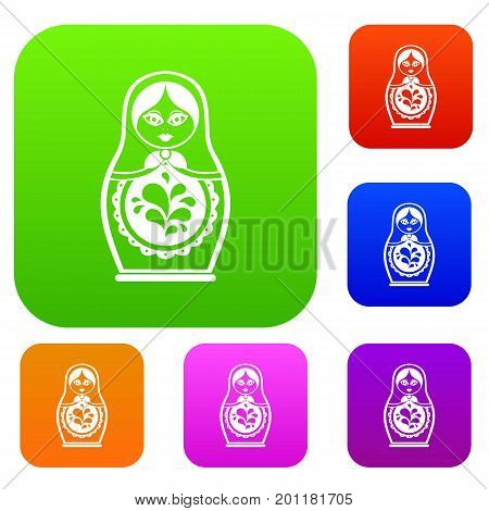 Matryoshka set icon in different colors isolated vector illustration. Premium collection