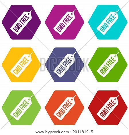 GMO free price tag icon set many color hexahedron isolated on white vector illustration