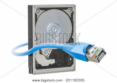 Hard Disk Drive HDD with lan internet cable 3D rendering isolated on white background