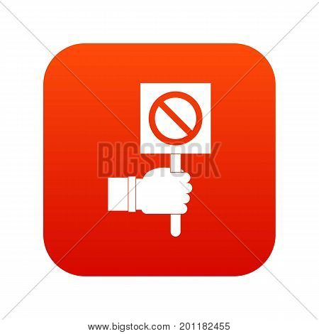 Hand showing stop signboard icon digital red for any design isolated on white vector illustration