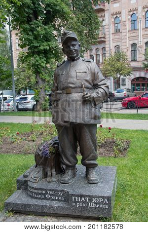 Kiev Ukraine - June 21 2017: Monument to ukrainian stage director and actor Gnat Yura in character of The Good Soldier Svejk