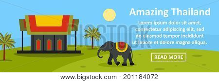 Amazing thailand banner horizontal concept. Flat illustration of amazing thailand banner horizontal vector concept for web