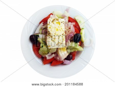 Greek salad isolated over a white background