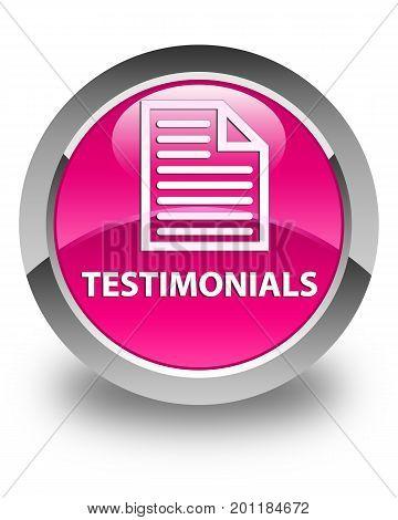 Testimonials (page Icon) Glossy Pink Round Button