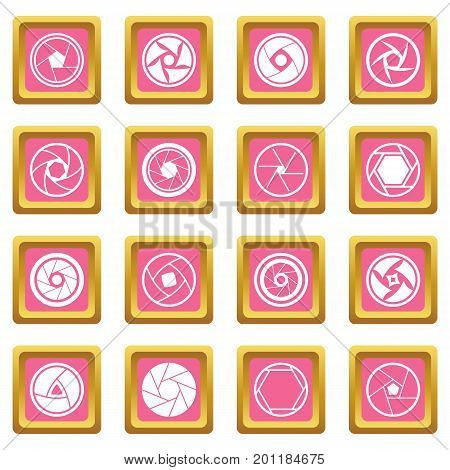 Photo diaphragm set. Simple illustration of 16 photo diaphragm vector icons set in pink color isolated vector illustration for web and any design