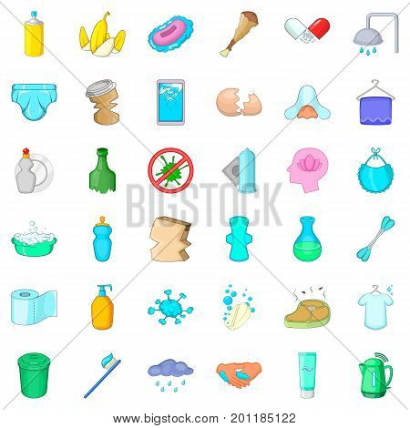 Bathing icons set. Cartoon style of 36 bathing vector icons for web isolated on white background