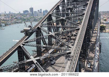 SYDNEY,NSW,AUSTRALIA-NOVEMBER 20,2016: Sydney Harbour Bridge steel through arch structure harbour and waterfront architecture in Sydney, Australia.