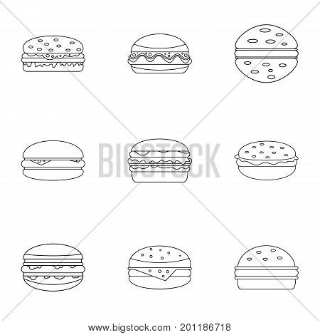 Unhealthy food burger icon set. Outline set of 9 unhealthy food burger vector icons for web isolated on white background