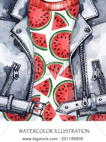 Watercolor illustration. Summer fruits card. Hand painted leather jacket with fresh watermelon. Healthy style. Ready for print, poster, fashion design, T-shirts, bags, invitations, cards pillows