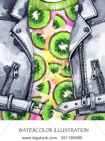 Watercolor illustration. Summer fruits card. Hand painted leather jacket with fresh kiwi. Healthy style. Ready for print, poster, fashion design, T-shirts, bags, invitations, cards pillows