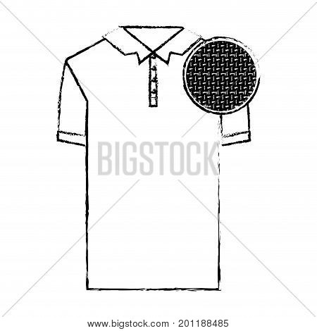 monochrome blurred silhouette of polo shirt short sleeve man and circle of macro textile pattern