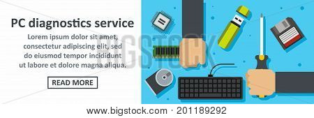 Pc diagnostics service banner horizontal concept. Flat illustration of pc diagnostics service banner horizontal vector concept for web