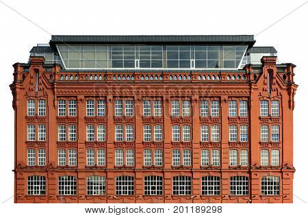 Vintage architecture red brick classical facade of building with white windows and modern glass mansard loft superstructure.