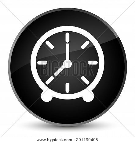 Clock Icon Elegant Black Round Button