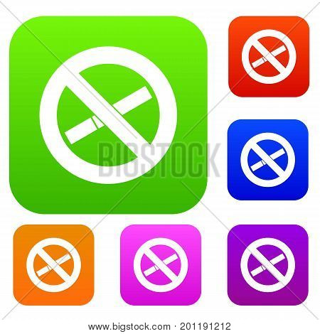 No smoking sign set icon in different colors isolated vector illustration. Premium collection