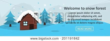 Welcome to snow forest banner horizontal concept. Flat illustration of welcome to snow forest banner horizontal vector concept for web