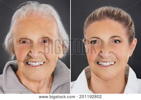Multiple image showing ageing process of woman from young to senior over gray background