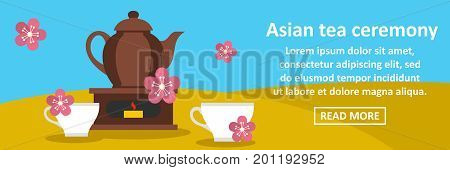 Asian tea ceremony banner horizontal concept. Flat illustration of asian tea ceremony banner horizontal vector concept for web