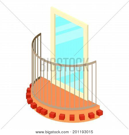 Little balcony icon. Isometric illustration of little balcony vector icon for web