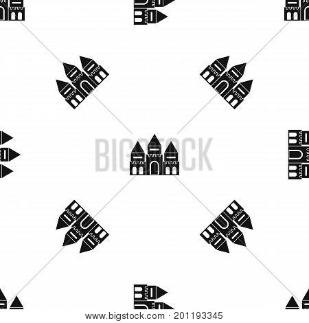 Children house castle pattern repeat seamless in black color for any design. Vector geometric illustration