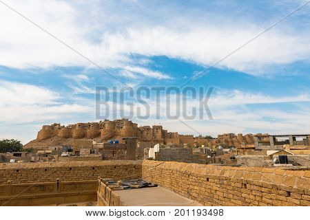 Amazing view from Saalam Singh Ki Haweli carved yellow sandstone architecture in Jaisalmer known as Golden City in India.
