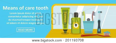 Means of care tooth banner horizontal concept. Flat illustration of means of care tooth banner horizontal vector concept for web
