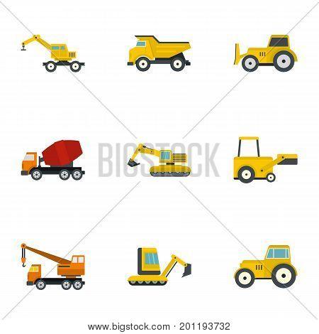 Construction heavy vehicle icon set. Flat set of 9 construction heavy vehicle vector icons for web isolated on white background