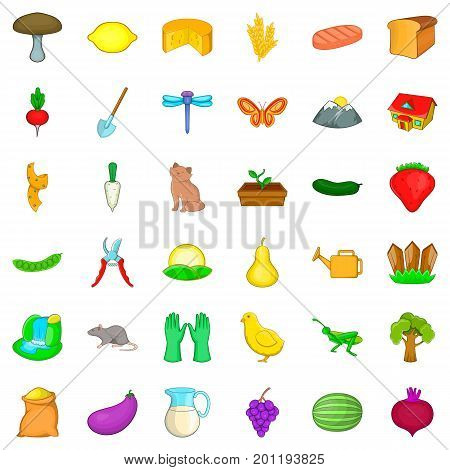 Region icons set. Cartoon style of 36 region vector icons for web isolated on white background