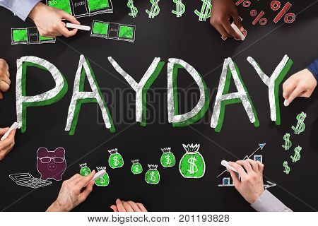 Group Of People Drawing Payday Employee Compensation