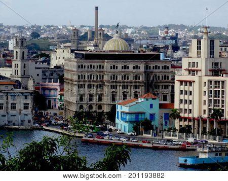 Overlooking the port of Havana, Cuba and buildings.