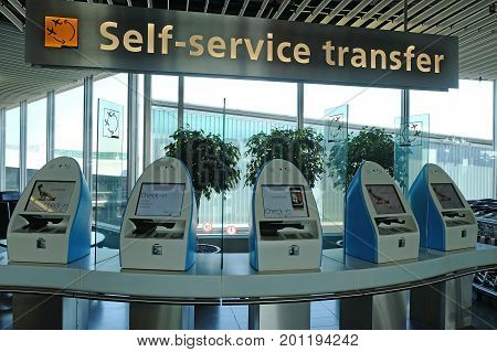 SCHIPHOL HOLLAND - MAY 17 2017: Racks for self-service transfer at the Amsterdam Schiphol airport