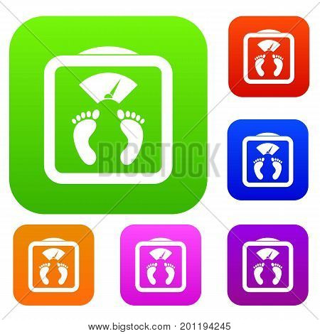 Floor scales set icon in different colors isolated vector illustration. Premium collection