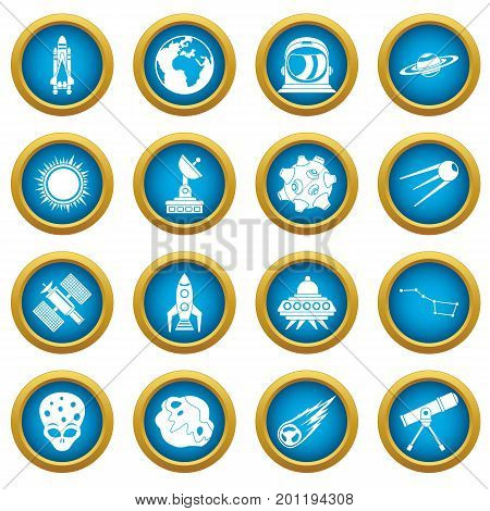 Space icons blue circle set isolated on white for digital marketing