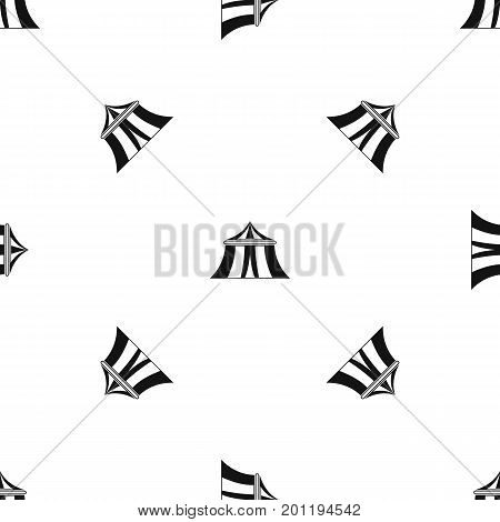 Circus tent pattern repeat seamless in black color for any design. Vector geometric illustration