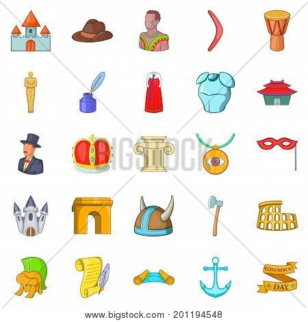 History icons set. Cartoon set of 25 history vector icons for web isolated on white background